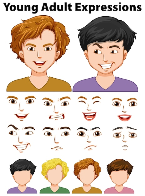 Les expressions des jeunes avec des visages différents Vecteur gratuit