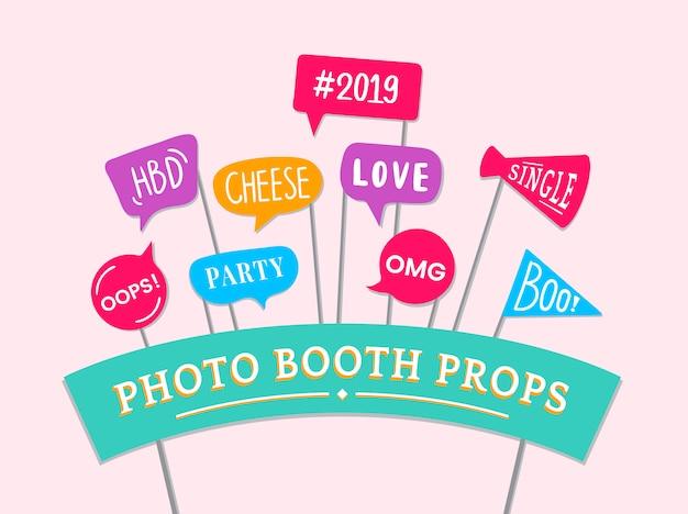 Expressions de mot définies pour vecteur d'accessoires fête photo booth Vecteur gratuit