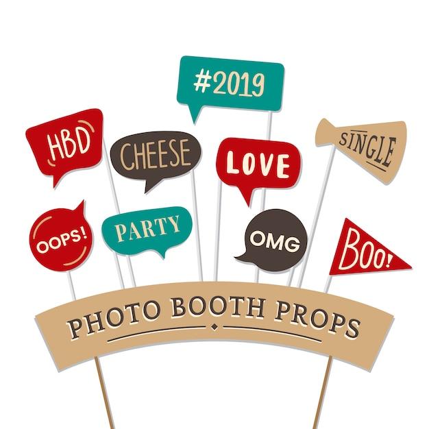 Expressions verbales définies pour les accessoires de photomaton de fête Vecteur gratuit