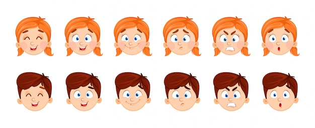 Expressions de visage de garçon et fille Vecteur Premium