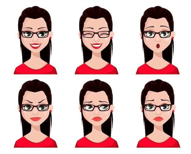 Expressions de visage de secrétaire sexy Vecteur Premium