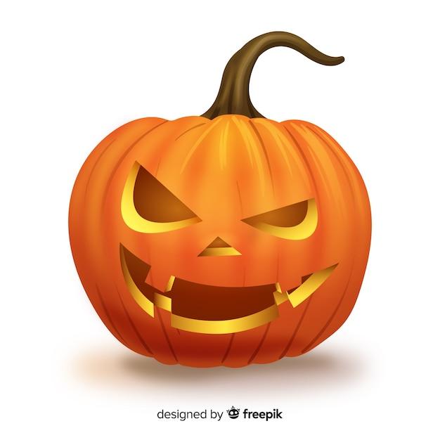 Expressive citrouille d'halloween isolé Vecteur gratuit