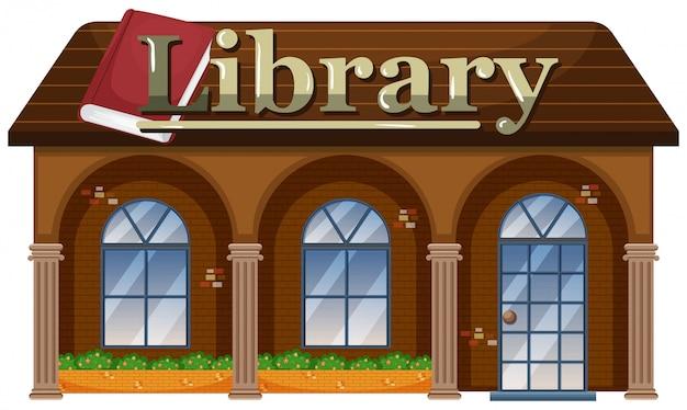Extérieur d'une bibliothèque Vecteur Premium