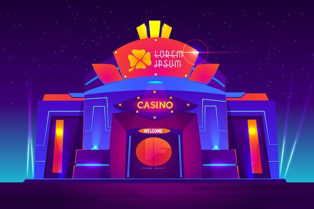 Extérieur Du Casino Avec Des Néons. Maison De Jeu Vue De Face Avec Trèfle Signe Sur L'entrée Vecteur gratuit