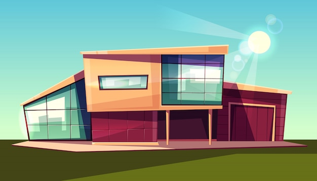 Extérieur de villa de luxe, chalet moderne avec garage, maison à ...