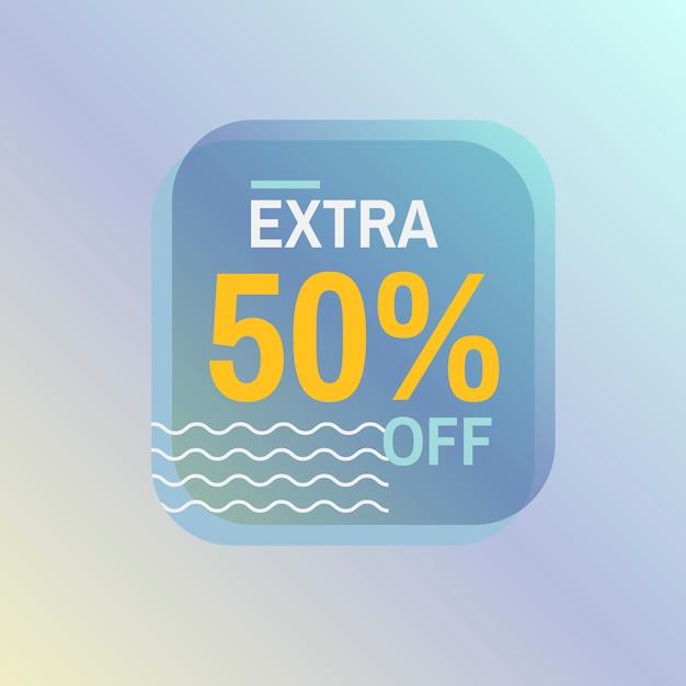 Extra 50% sur le vecteur de badge de vente Vecteur gratuit