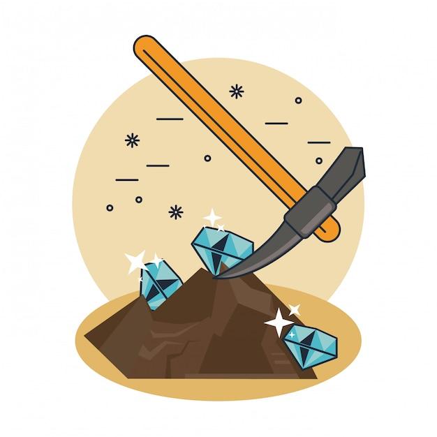 Extraction de pioche de diamants Vecteur Premium