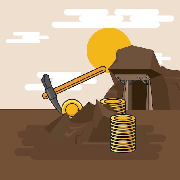 Extraction de pioche d'or Vecteur Premium