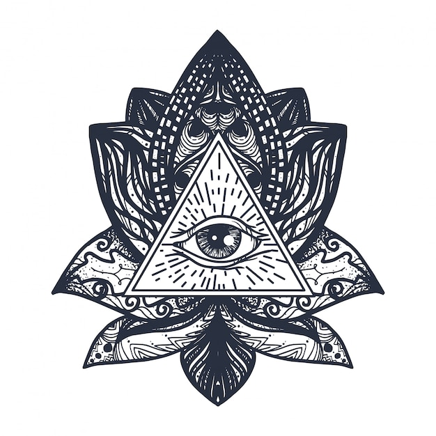 Eye Sur Lotus Tattoo Vecteur Premium