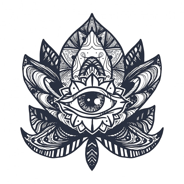 Eye Sur Lotus Tattoo Vecteur Premium