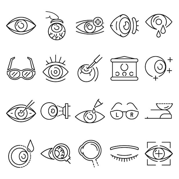 Eyeball icon set. ensemble de contour des icônes vectorielles globe oculaire Vecteur Premium