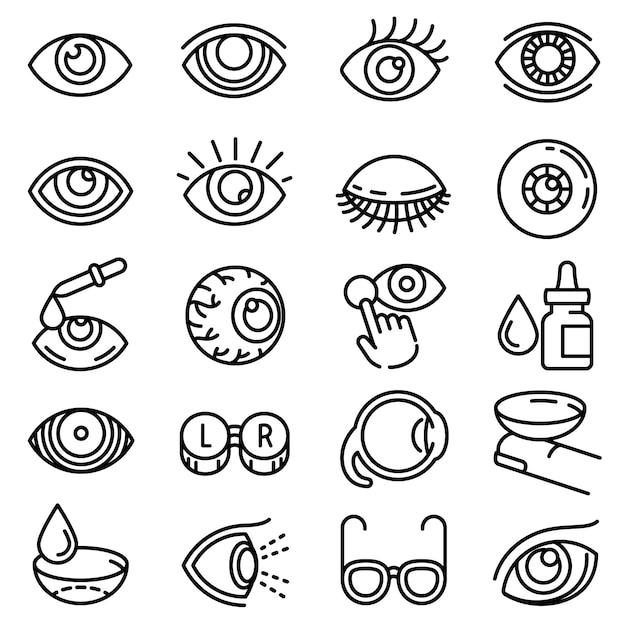 Eyeball icon set, style de contour Vecteur Premium