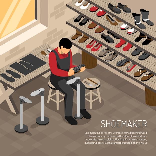 Fabricant De Chaussures Pendant Le Travail Sur Des étagères Avec Des Chaussures Isométriques Vecteur gratuit