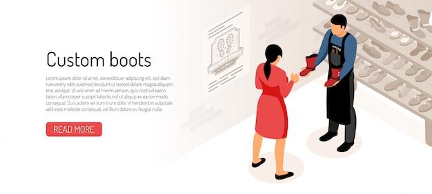 Fabricant De Chaussures Avec Son Client à L'atelier Isométrique Vecteur gratuit