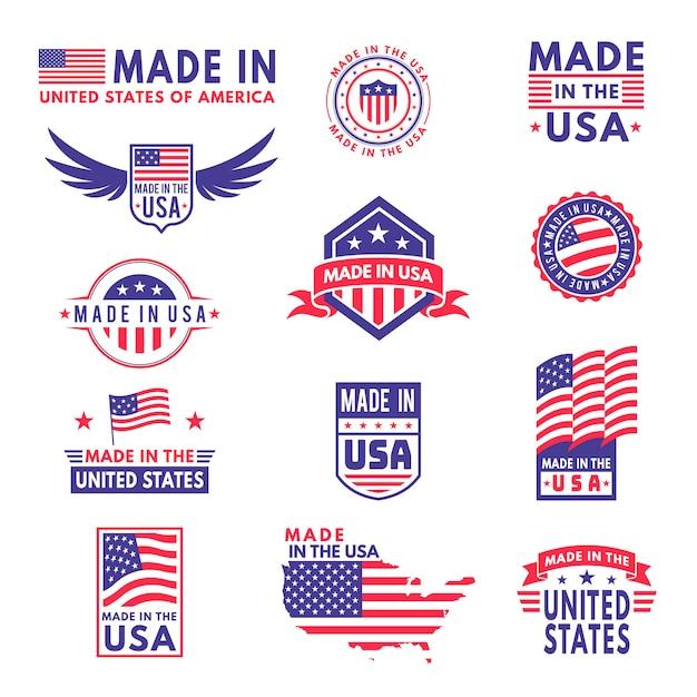 Fabriqué Aux états-unis. Drapeau Fabriqué Amérique états Américains Drapeaux Produit Badge Qualité étiquettes Patriotiques Emblème Autocollant Ruban étoile, Ensemble Vecteur Premium