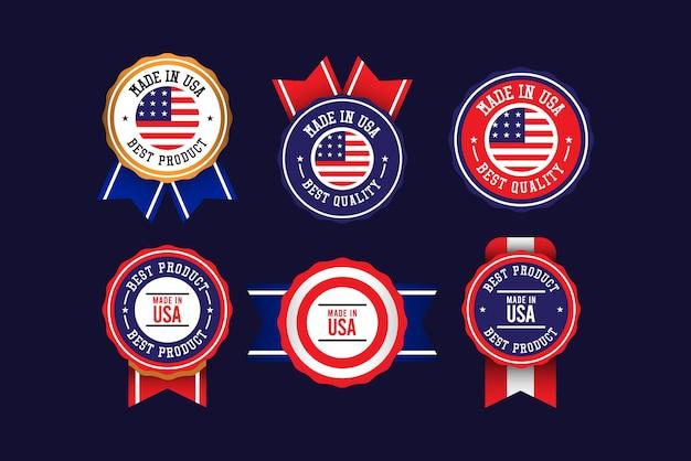 Fabriqué Aux états-unis Modèle De Jeu D'étiquettes. Vecteur Premium