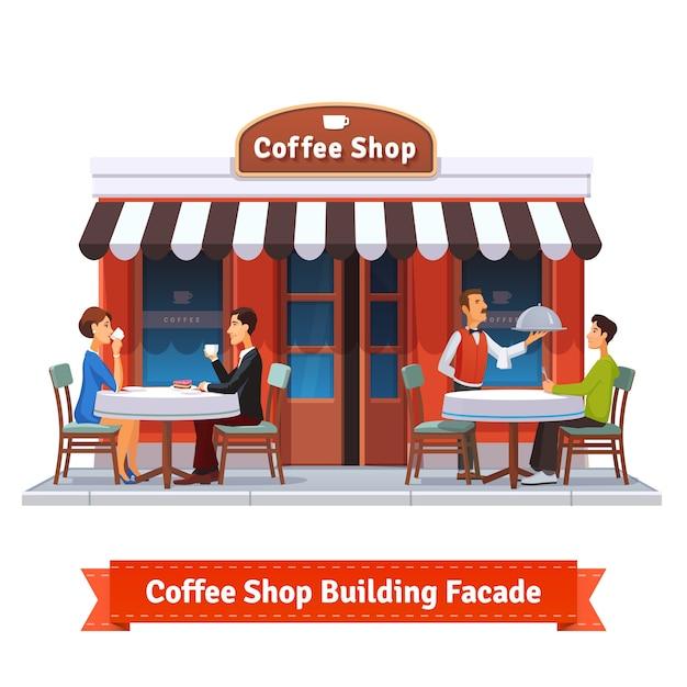 Façade du bâtiment du café avec panneau de signalisation Vecteur gratuit