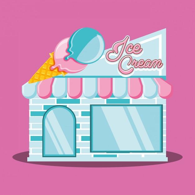 Façade de magasin de crème glacée Vecteur Premium