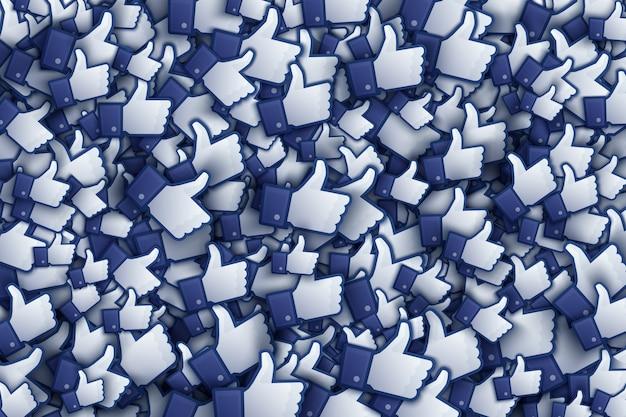 Facebook 3d comme des icônes de la main art illustration Vecteur Premium