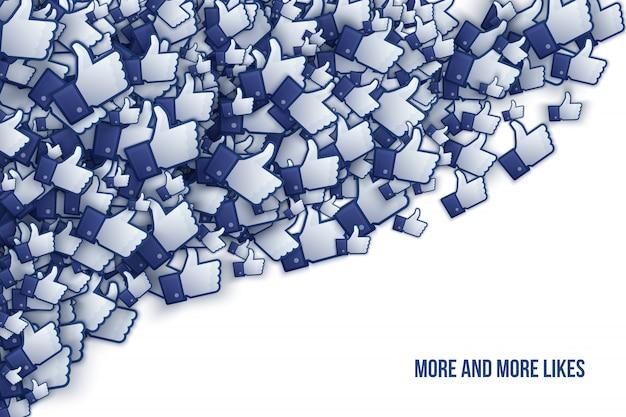 Facebook 3d comme des icônes de la main illustration vectorielle Vecteur Premium