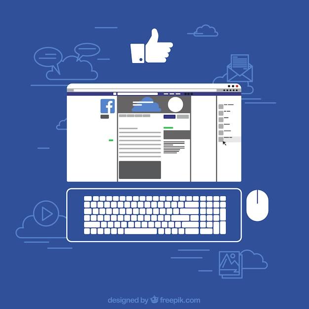 Facebook sur l'arrière-plan de l'écran Vecteur gratuit