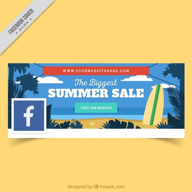 Facebook Couverture De Plage Avec Planche De Surf Vecteur gratuit