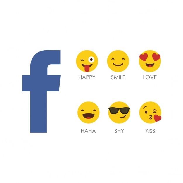 Facebook Emoji Icon Set Avec Logo Vecteur gratuit