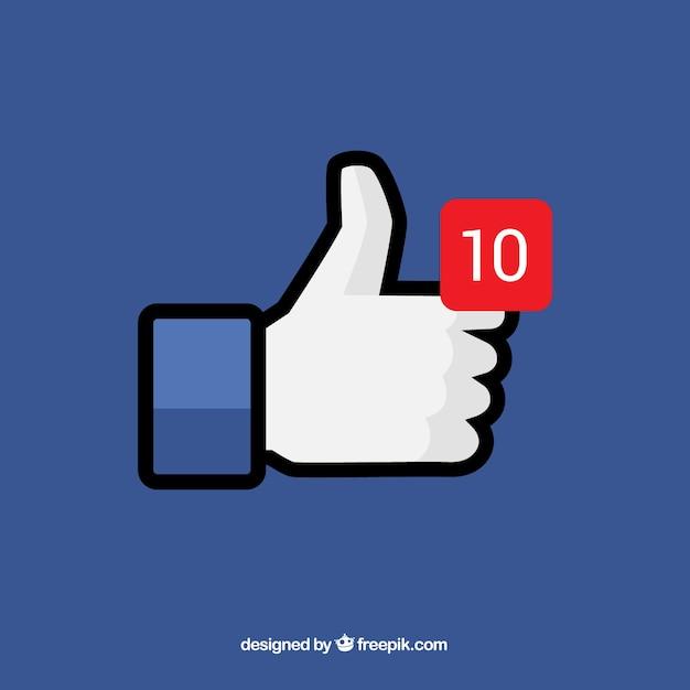 Facebook pouce en arrière-plan avec notification Vecteur gratuit