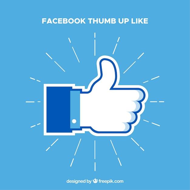 Facebook Pouce Vers Le Haut Comme Arrière-plan Dans Un Style Plat Vecteur Premium