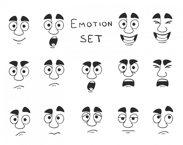 Facial avatar emotions set Vecteur gratuit