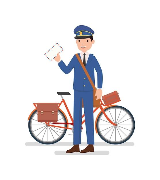 Un Facteur Avec Le Vélo Est Prêt à Envoyer Une Lettre ...