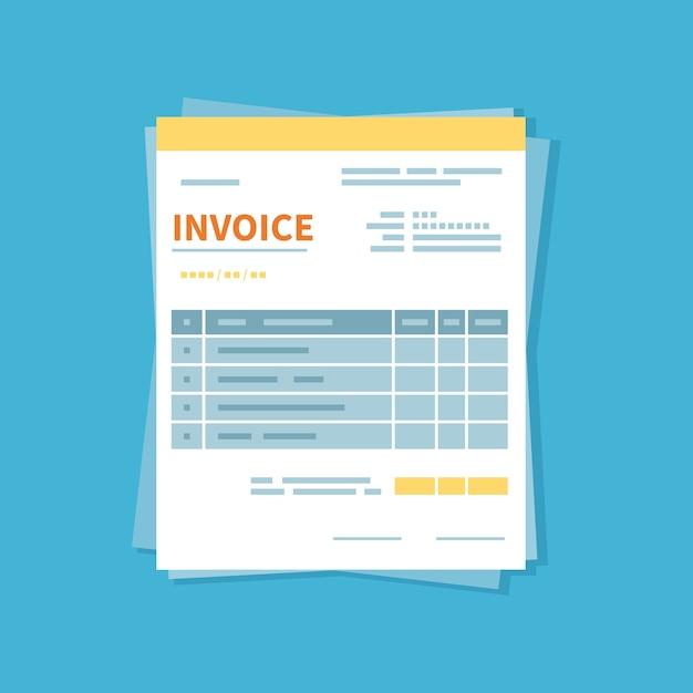 Facture D'achat. Forme Minimaliste Et Non Remplie Du Document. Paiement Et Facturation Vecteur Premium