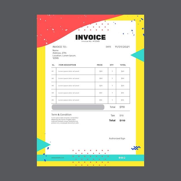 Facture Commerciale Marketing Vecteur gratuit