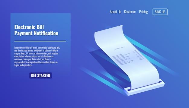 Facture électronique, reçu de paiement, notification de paiement Vecteur gratuit