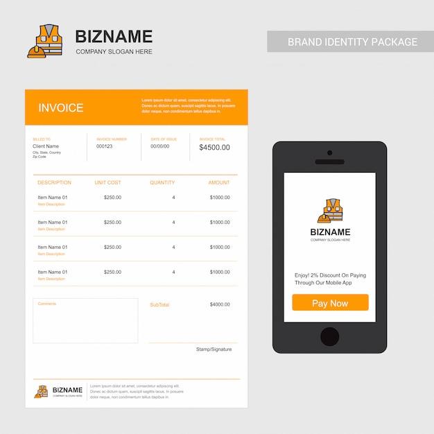 Facture d'entreprise avec logo et design créatif Vecteur Premium
