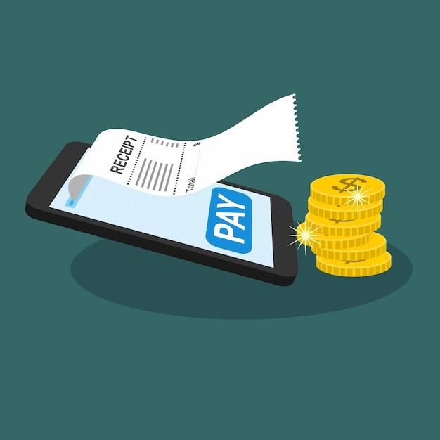 Facture de facture de smartphone. vérification de la facturation en ligne. Vecteur Premium