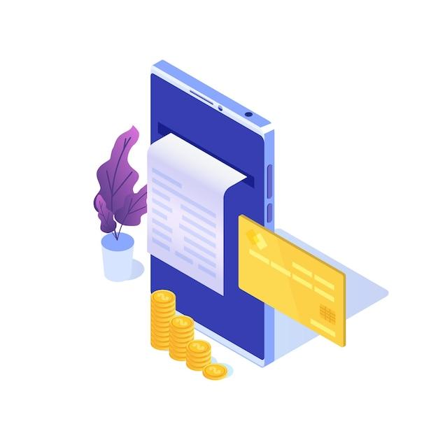 Facture Numérique, Reçu électronique Ou Illustration De Facture Isométrique. Shopping En Ligne. Vecteur Premium