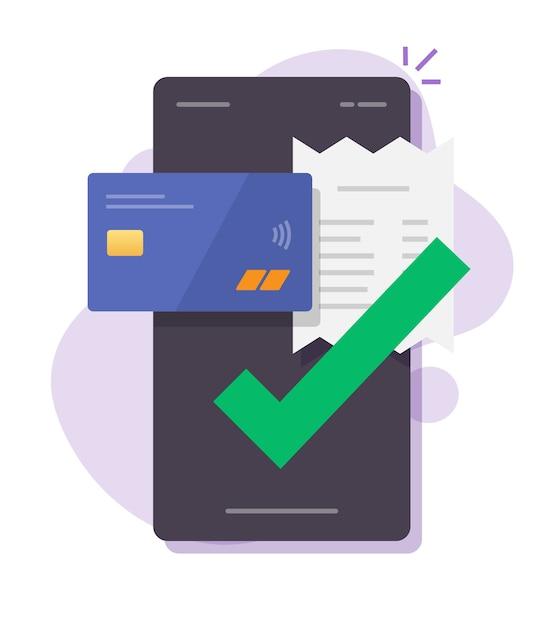 Facture De Paiement à L'aide De Téléphone Portable Smartphone En Ligne Vecteur Premium