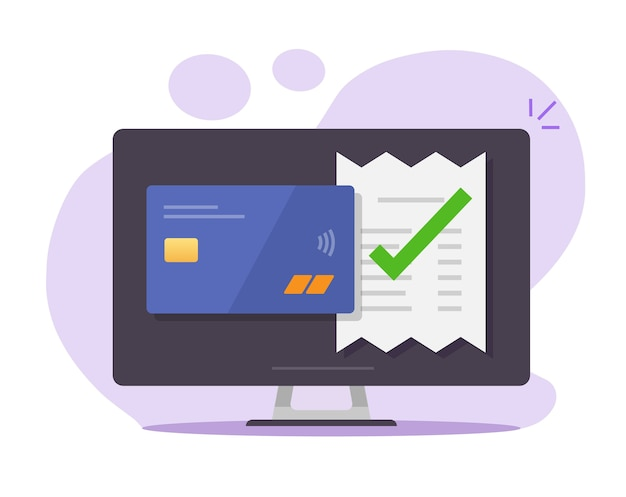 Facture De Paiement Approuvée Valide Vérifiée Confirmée Par Carte De Crédit Bancaire Sur Un Ordinateur De Bureau Vecteur Premium