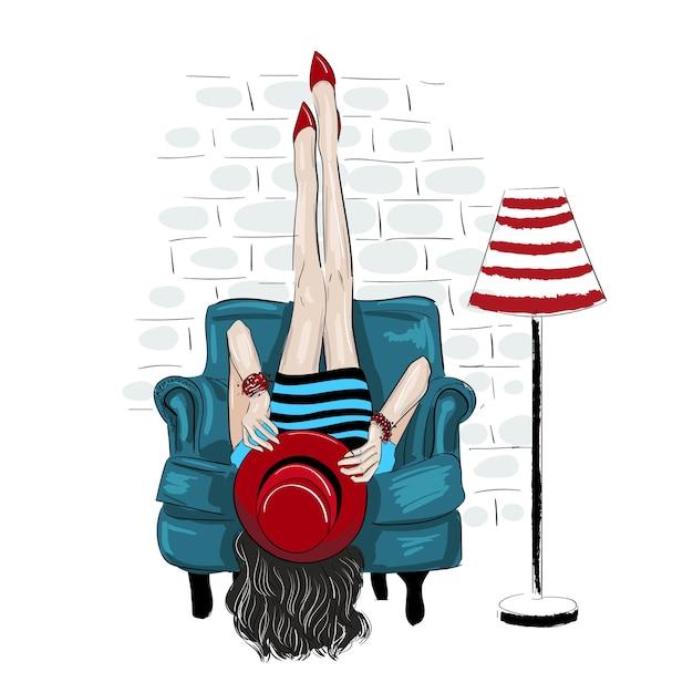 Fahion, femme, rised, jambes, haut, mur Vecteur Premium