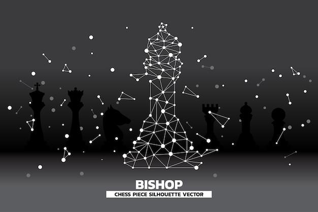 Faible polygone point connecté ligne de vecteur de pièce d'échecs évêque. Vecteur Premium