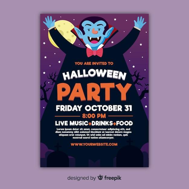 Faible Vue D'affiche De La Fête D'halloween Smiley Dracula Vecteur gratuit