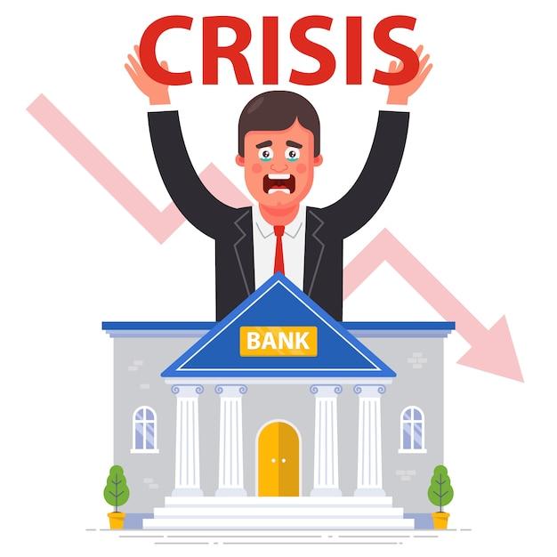Faillite Bancaire Dans Le Contexte De La Crise Financière Mondiale. Illustration Plate. Vecteur Premium