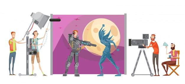 Faire une composition de film avec des acteurs en costumes sur l'espace directeur de fond avec illustration vectorielle du personnel technique Vecteur gratuit