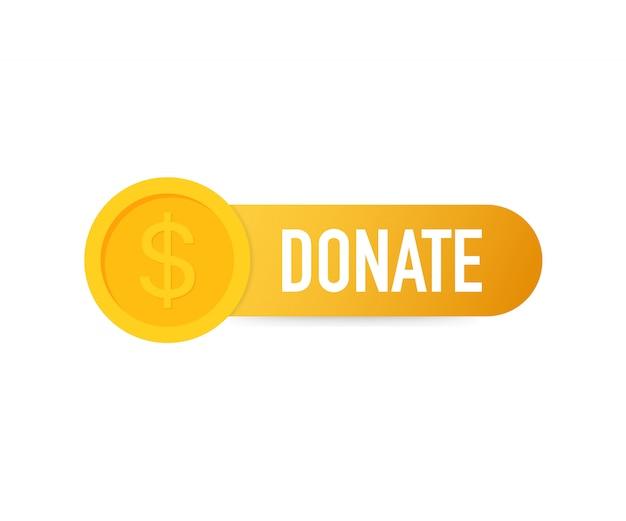 Faire un don main concept et bouton d'argent dans le style plat. Vecteur Premium