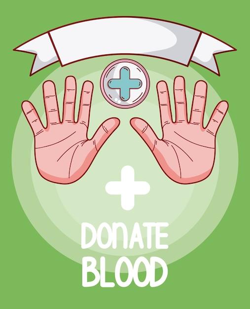 Faire un don de mains de sang avec les paumes ouvertes et le symbole médical Vecteur Premium