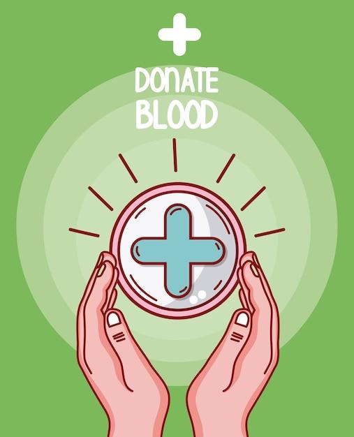 Faire un don de mains de sang soignant le symbole médical Vecteur Premium