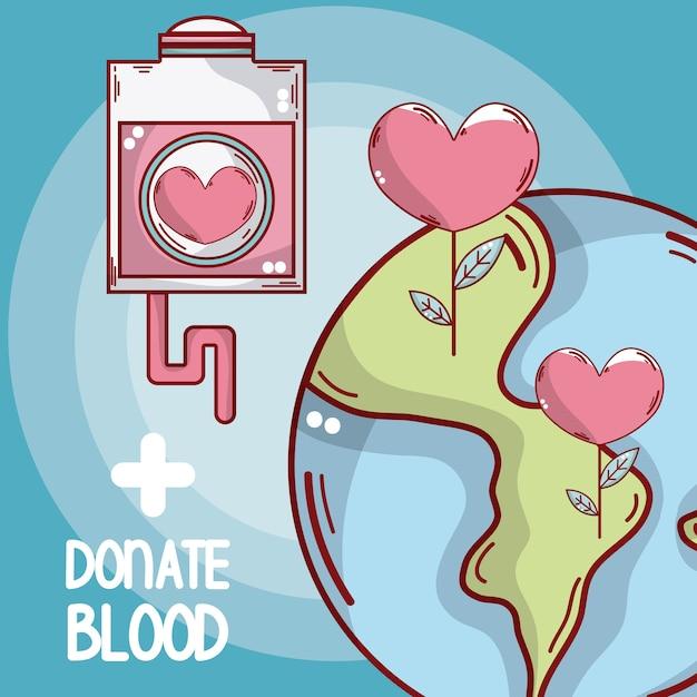 Faire un don de sang et de sang Vecteur Premium
