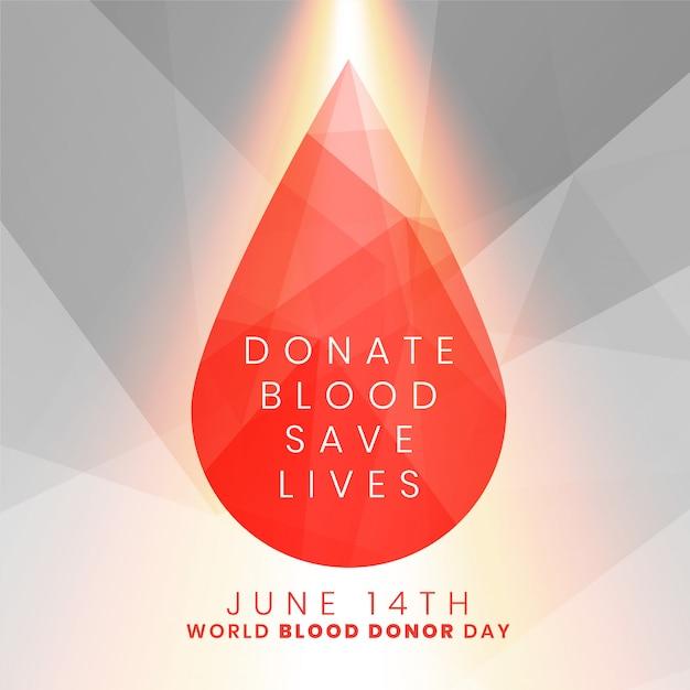 Faire un don de sang sauver des vies concept goutte de sang Vecteur gratuit