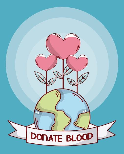 Faire un don de sang et de terre Vecteur Premium